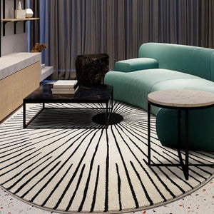 INSPIRA LIFESTYLES - Radial Scandinavian Round Area Rug - ACCENT RUG, AREA RUG, BEDROOM CARPET, CARPET, COMMERCIAL, DINING ROOM CARPET, FLOOR MAT, HOTEL CARPET, LIVING ROOM CARPET, OFFICE CARPET, PILE CARPET, RADIAL, RUG, SCANDINAVIAN, WOVEN RUG
