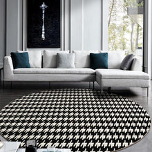 Load image into Gallery viewer, INSPIRA LIFESTYLES - Houndstooth Round Area Rug - ACCENT RUG, AREA RUG, BEDROOM CARPET, BLACK AND WHITE, CARPET, COMMERCIAL, DINING ROOM CARPET, FLOOR MAT, HOTEL, HOTEL CARPET, HOUNDSTOOTH, LIVING ROOM CARPET, OFFICE CARPET, PILE CARPET, RUG, WOVEN RUG