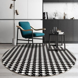 INSPIRA LIFESTYLES - Houndstooth Round Area Rug - ACCENT RUG, AREA RUG, BEDROOM CARPET, BLACK AND WHITE, CARPET, COMMERCIAL, DINING ROOM CARPET, FLOOR MAT, HOTEL, HOTEL CARPET, HOUNDSTOOTH, LIVING ROOM CARPET, OFFICE CARPET, PILE CARPET, RUG, WOVEN RUG