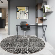 Load image into Gallery viewer, INSPIRA LIFESTYLES - Tab Pattern Round Area Rug - ACCENT RUG, AREA RUG, BEDROOM CARPET, BLACK AND WHITE, CARPET, COMMERCIAL, DINING ROOM CARPET, FLOOR MAT, HOTEL CARPET, LIVING ROOM CARPET, OFFICE CARPET, PILE CARPET, RUG, WOVEN RUG