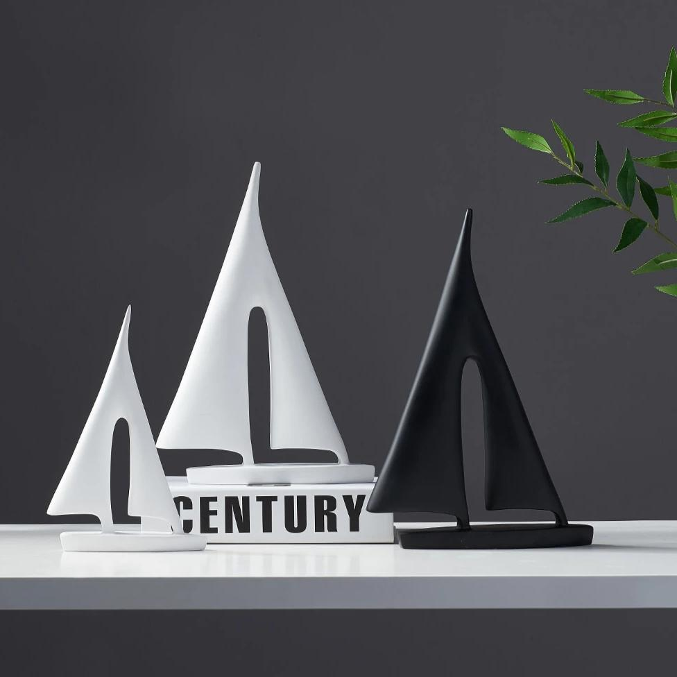 INSPIRA LIFESTYLES - Abstract Sailboat Sculpture - ACCESSORIES, ART, BLACK AND WHITE, DECOR, DECORATION, DECORATIVE, MODERN, SCULPTURE