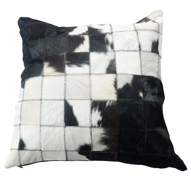 INSPIRA LIFESTYLES - Multi Squares Cowhide Pillow - ACCENT PILLOW, ACCESSORIES, CUSHION, DECORATIVE PILLOW, HOME DECOR, LEATHER, PILLOW, SOFTGOODS, THROW PILLOW