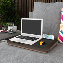 Load image into Gallery viewer, INSPIRA LIFESTYLES - Portable Black Oak Laptop Tablet Tray - DESK, HOME OFFICE, LAPTOP TRAY, MOUSE PAD, OFFICE, PORTABLE DESK, TABLET HOLDER