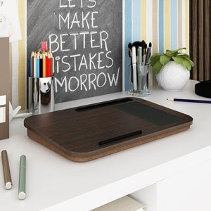 INSPIRA LIFESTYLES - Portable Black Oak Laptop Tablet Tray - DESK, HOME OFFICE, LAPTOP TRAY, MOUSE PAD, OFFICE, PORTABLE DESK, TABLET HOLDER