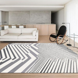 INSPIRA LIFESTYLES - Contrast Monochrome Large Area Rug - ACCENT RUG, ACRYLIC RUG, AREA RUG, BEDROOM CARPET, BLACK AND WHITE RUG, CARPET, CHEVRON RUG, COMMERCIAL, DINING ROOM CARPET, FLOOR MAT, GEOMETRIC RUG, HOTEL CARPET, LIVING ROOM CARPET, MODERN RUG, OBJECTS, OFFICE CARPET, PILE CARPET, RECTANGLE AREA RUG, RUG, RUGS, STRIPE RUG, WOVEN RUG