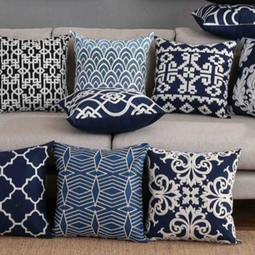 INSPIRA LIFESTYLES - Classic Motif Embroidered Pillow - ACCENT PILLOW, ACCESSORIES, CANVAS, CLASSIC, Classic Blue Black & White Embroidered Pillow, COTTON, CUSHION, DECORATIVE PILLOW, DEMASK, EMBROIDERED, FILIGREE, HOME DECOR, PILLOW, QUADRAFOIL, SOFTGOODS, THROW PILLOW, TRADITIONAL