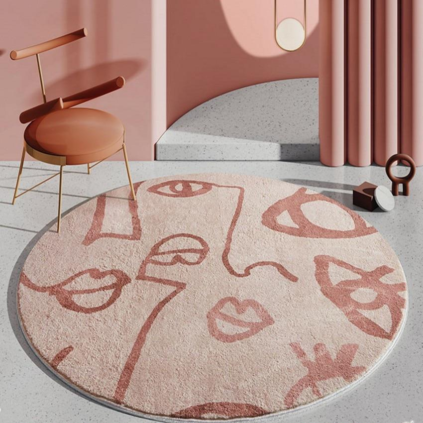INSPIRA LIFESTYLES - Abstract Faces Round Area Rug - ACCENT RUG, AREA RUG, BEDROOM CARPET, CARPET, COMMERCIAL, DINING ROOM CARPET, FLOOR MAT, HOTEL CARPET, LIVING ROOM CARPET, OFFICE CARPET, PILE CARPET, PINK, RUG, SALMON, WOVEN RUG