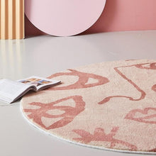 Load image into Gallery viewer, INSPIRA LIFESTYLES - Abstract Faces Round Area Rug - ACCENT RUG, AREA RUG, BEDROOM CARPET, CARPET, COMMERCIAL, DINING ROOM CARPET, FLOOR MAT, HOTEL CARPET, LIVING ROOM CARPET, OFFICE CARPET, PILE CARPET, PINK, RUG, SALMON, WOVEN RUG