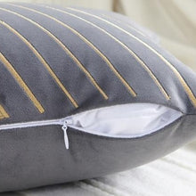Load image into Gallery viewer, INSPIRA LIFESTYLES - Velvet Embroidered Chevron Pillow II - ACCENT PILLOW, ACCESSORIES, CHEVRON, CUSHION, DECORATIVE PILLOW, EMBROIDERED, HOME DECOR, LUXURY, LUXURY PILLOW, PILLOW, SOFTGOODS, THROW PILLOW, VELVET