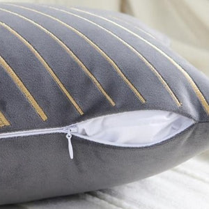 INSPIRA LIFESTYLES - Velvet Embroidered Chevron Pillow II - ACCENT PILLOW, ACCESSORIES, CHEVRON, CUSHION, DECORATIVE PILLOW, EMBROIDERED, HOME DECOR, LUXURY, LUXURY PILLOW, PILLOW, SOFTGOODS, THROW PILLOW, VELVET