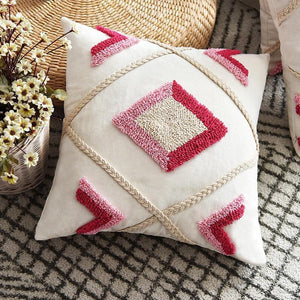 Red Diamond Tufted Pillow