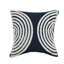 Load image into Gallery viewer, Dark Navy & White Embroidered Pillow