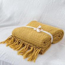 Load image into Gallery viewer, Mustard Chevron Knit Throw