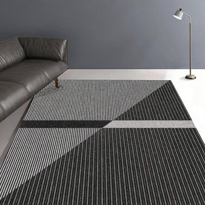 Diagonal Contrast Stripe Area Rug