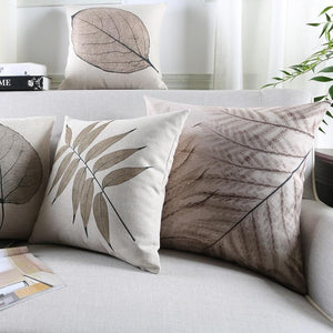 INSPIRA LIFESTYLES - Foliage Linen Cotton Blend Pillow - ACCENT PILLOW, ACCESSORIES, BED PILLOW, CHAIR PILLOW, COTTON, DECORATIVE PILLOW, FERNS, FOLIAGE, HOME ACCESSORIES, LEAVES, LINEN, PILLOW, SOFA PILLOW, SOFTGOODS