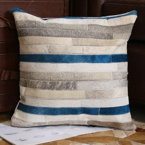 INSPIRA LIFESTYLES - Blue Stripe Cowhide Pillow - ACCENT PILLOW, ACCESSORIES, CUSHION, DECORATIVE PILLOW, HOME DECOR, LEATHER, PILLOW, SOFTGOODS, THROW PILLOW