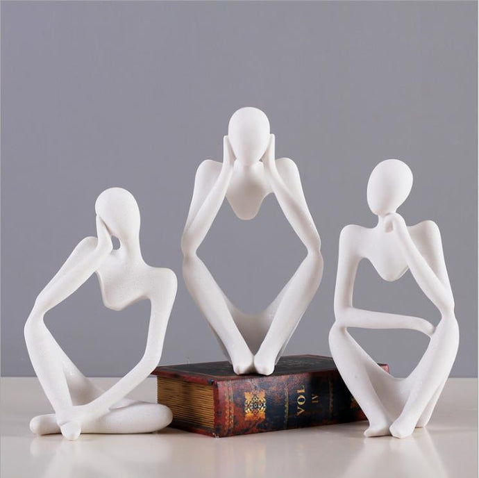 INSPIRA LIFESTYLES - Abstract Thinkers Sculptures - ABSTRACT, ART, DECOR, FIGURINES, MINIMAL, MINIMALIST, MODERN, PEOPLE, SCULPTURE, SCULPTURES, WHITE