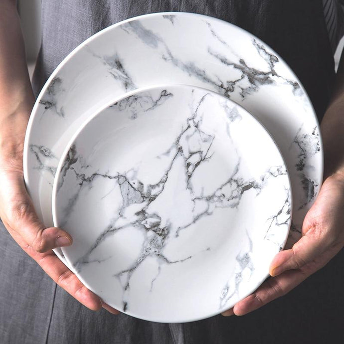 INSPIRA LIFESTYLES - Marble Pattern Plates - DESSERT PLATE, DINNER PLATE, DINNERWARE, PLATE, PLATES, TABLEWARE, TABLEWARE PLATES