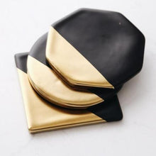 Load image into Gallery viewer, INSPIRA LIFESTYLES - Luxury Golden Plating Ceramic Cup Mat Pads Porcelain Drink Coffee Mug Coasters Black Of The Table Home Decorations Kitchen Tool - COASTERS, DINING, KITCHEN, TABLEWARE