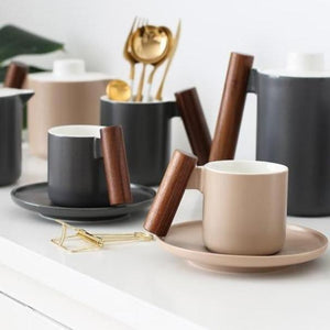 INSPIRA LIFESTYLES - Mugs w/ Wood Handles - COFFEE MUG, CUP, DINING, KITCHEN, MUG, SAUCER, TABLEWARE, TEA CUP