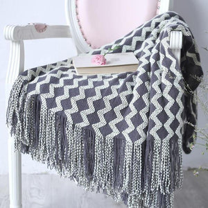 Zigzag Fringe Knit Throw