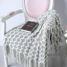 Load image into Gallery viewer, Zigzag Fringe Knit Throw