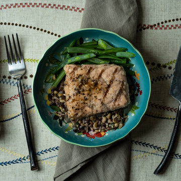 Salmon with Mushroom Wild Rice