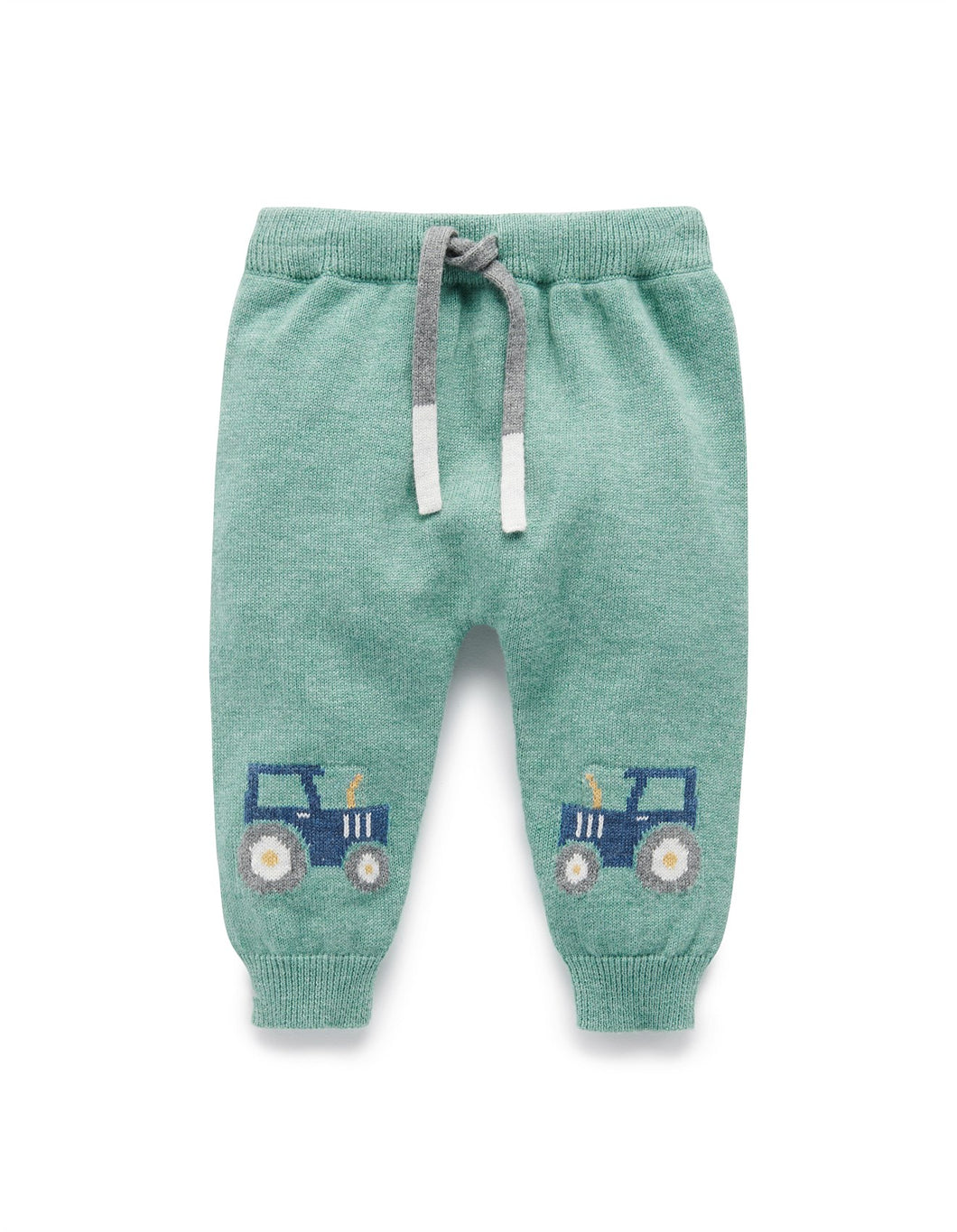 PUREBABY TRACTOR KNIT LEGGING MOSS GREEN