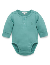 Load image into Gallery viewer, PUREBABY HENLEY BODYSUIT MOSS GREEN