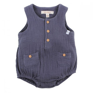 FOX AND FINCH NATIVE CRINKLE ROMPER CHARCOAL