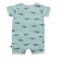 Load image into Gallery viewer, FOX & FINCH DEEP BLUE FISH ROMPER