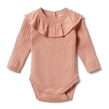 Load image into Gallery viewer, W & F KNITTED RIB RUFFLE BODYSUIT DUSK