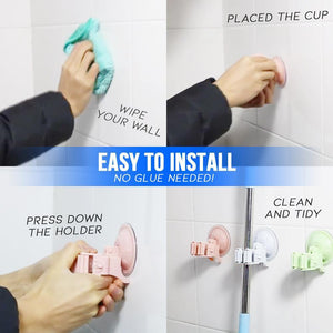 Seamless Suction Cup Mop Holders - Set For 4