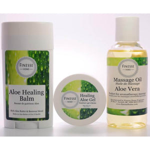 Finesse Home Aloe Vera Collection including Aloe Healing Balm, Aloe Healing Gel, and Aloe Massage Oil