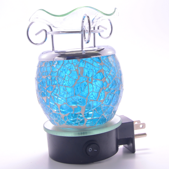 Blue Crackle Plug In Lamp