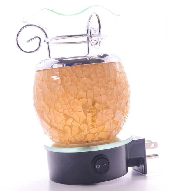 Gold Glass Crackle Plug In Lamp   ON SALE