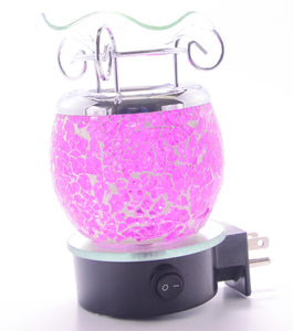Pink Glass Crackle Plug In Lamp   ON SALE