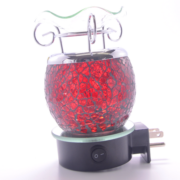 Red Crackle Plug In Lamp  ON SALE