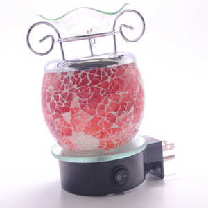 Red-White Crackle Plug In Lamp