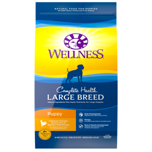 Wellness Complete Health Natural Large Breed Puppy Chicken, Brown Rice and Salmon Recipe Dry Dog Food