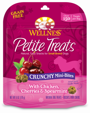 Wellness Petite Treats Grain Free Natural Crunchy Mini-Bites Chicken, Cherries and Spearmint Recipe Small Dog Treats