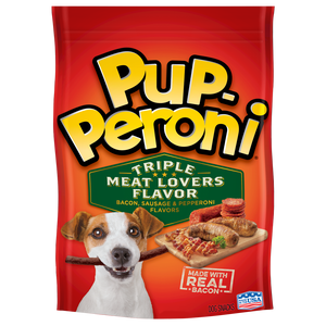 Pup-Peroni Triple Meat Lovers Bacon, Sausage, and Pepperoni Flavored Dog Treats