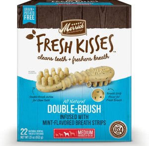 Merrick Fresh Kisses Grain Free Mint Breath Strips Medium Dog Treat Box