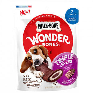 Milk-Bone Wonder Bones Triple Layers Real Long Lasting Real USA Raised Beef Dog Treats