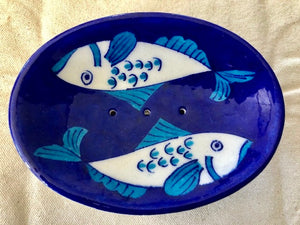 2 FISH INDIGO SMALL SOAP DISH