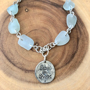 LOCAL SEA GLASS & STERLING TURTLE NECKLACE