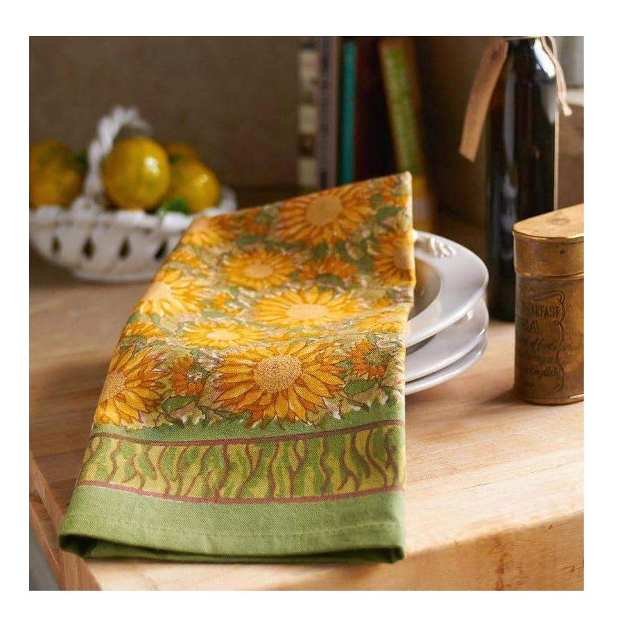TEA TOWEL SUNFLOWERS GREEN