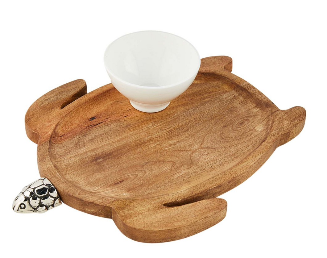 TURTLE WOOD TRAY N DIP SET