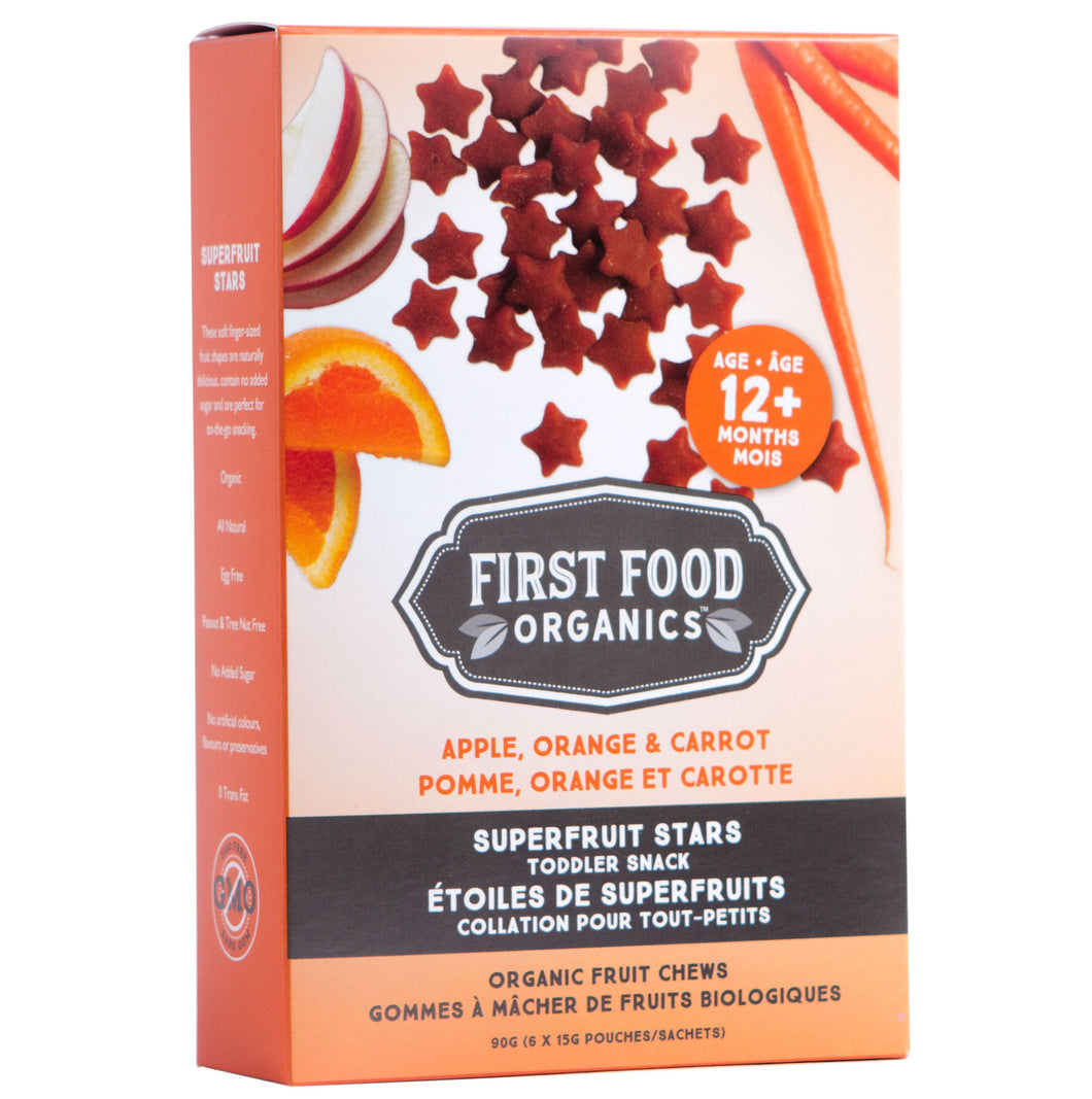 Organic Superfruit Stars Toddler Snack - Apple Orange & Carrot 90g