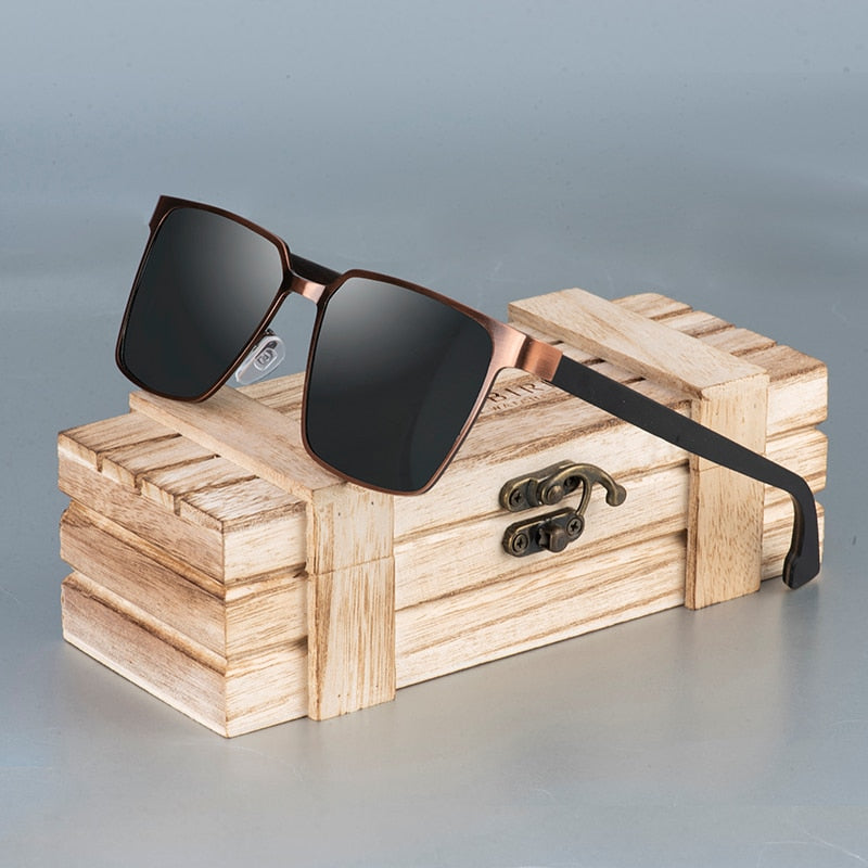 Handmade Polarized black lens Wooden Legs With Bamboo Gift Box